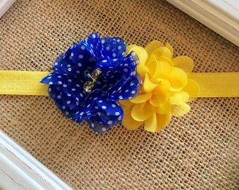 Royal blue/white polka dots, yellow flower headband