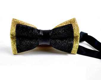 Men Black and Gold Faux Leather Double Layers Shining Bow tie Bowtie Wedding Party BOW1-1