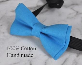 Unisex Men 100% Cotton Quality AQUA Bright Blue Solid Color Handmade Bow Tie Bowtie Craft Wedding Party