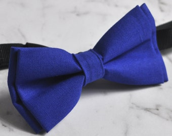 Boy Kids infant 100% Cotton Handmade Page Boy  Royal Blue Indigo Bow Tie Bowtie Party Wedding 1-6 Years old