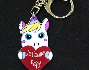 "Keychain Unicorn message ""I love Grandpa"" in a red heart"