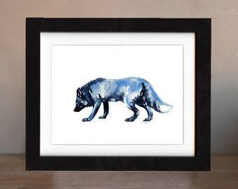fox art print, silver, fox artwork, fox gift idea, fox art, fox decor, fox wall art, fox nursery, wildlife art, art print, saltwatercolors