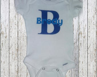 Personalized baby onesie with first initial and name