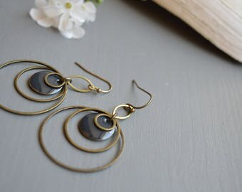 Bronze colored metal and slate grey earrings
