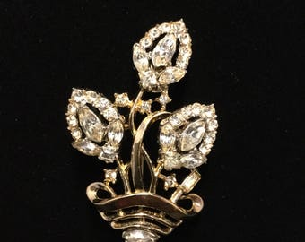 CROWN TRIFARI Alfred Phillippe Flower Basket Pin
