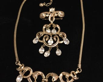 Crown Trifari Necklace and Brooch with Dangles