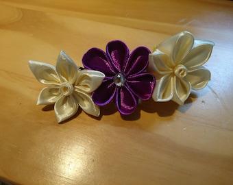 Ivory and purple kanzashi hair clip