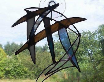 Handmade Stained Glass Suncatcher/Abstract Art/OOAK