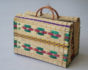 Reed Bag with handles, traditional portuguese bag, handmade, market basket, summer basket, shopping bag, bolsa de mercado, sac de marché.