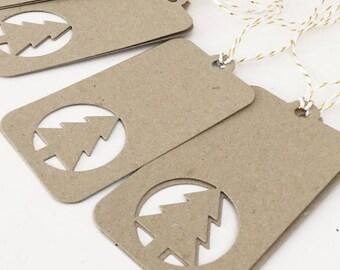 Rustic Christmas Tags x10, Holiday Gift Tags, Christmas Favor Tags, Christmas Wrapping, Christmas Labels, Kraft Tags, Christmas Tree Tags