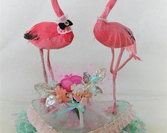 Mid Century Modern Kitsch Flamingos wedding cake topper