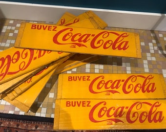 Vintage wood coca cola advertising plates