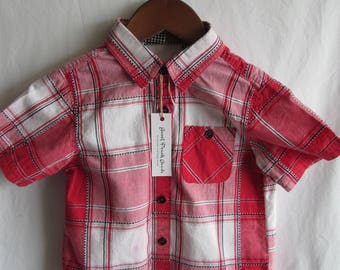 Shirt Bib--toddler, red and black plaid--craft apron, smock