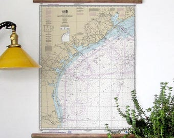 Nautical chart 11300 of the Texas Coast Scroll Style