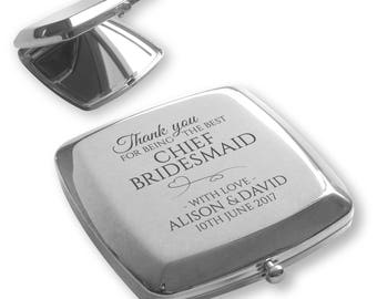Personalised engraved CHIEF BRIDESMAID silver plated compact mirror wedding gift idea - TY2