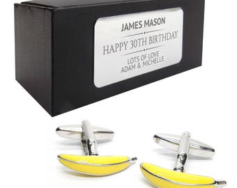 Banana fruit grocer CUFFLINKS 30th, 40th, 50th, 60th, 70th birthday gift, presentation box PERSONALISED ENGRAVED plate - 075