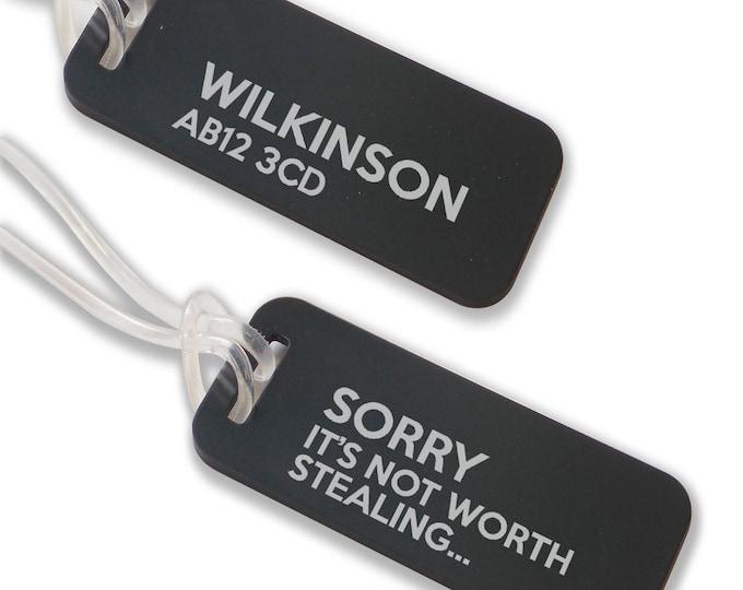 Personalised engraved suitcase holiday BAG luggage TAG, coloured aluminium custom luggage tag - ANB3-F1