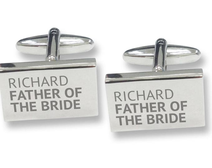 Engraved FATHER of the GROOM rectangle wedding cufflinks, rhodium plated - REP1