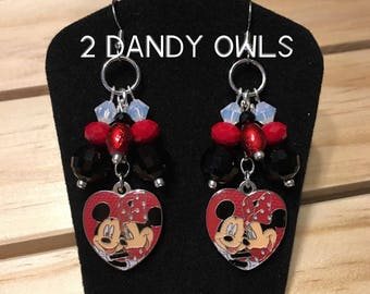 Disney Mickey Mouse  and Minnie Mouse Heart Dangle Earrings