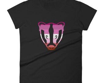 Lesbian Pride Badger Women's short sleeve t-shirt  lgbt lgbtqipa lgbtq mogai pride flag gay