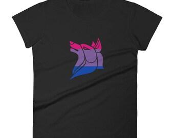 Bi Pride Wolf Women's short sleeve t-shirt Bisexual lgbtq lgbt lgbtqipa queer gay transgender mogai