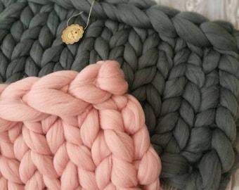 40x60cm, chunky knit blanket, blogger, merino wool, merino knit blanket, Pled z Polskiej Wełny Czesankowej