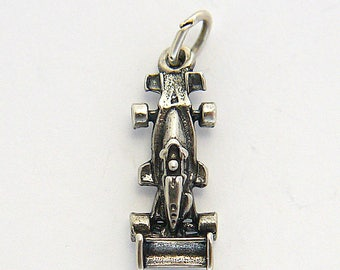 Vintage Indy Car Racing Charm in Sterling Silver