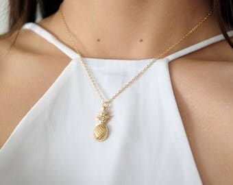 Dainty Gold Pineapple Minimalist Necklace / Simple Gold Layering Necklace