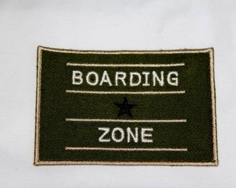 """Badge, motif, applique sewing """"Boarding area"""" width 9 cm height 6 cm to sew"""