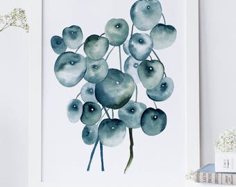 Blue art prints, large statement art, Watercolour palette, Botanical print sets, Nature lover gift, Best friend gift, Birthday gift, Plant