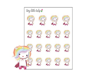 Planner Stickers Rainbow Unicorn in a Cape