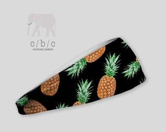 Pineapple Headband, Black Headband, Yoga Headband, Fitness Headband, Adult Headband, Boho Wide Headband, Performance Fabric, Womens Headband