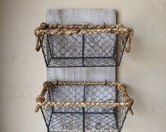 Wall Mounted Barn Wood and Chicken Wire Basket, Toy Box Baskets, Produce Basket, White Rustic Wood and Basket, Farm House Storage Baskets