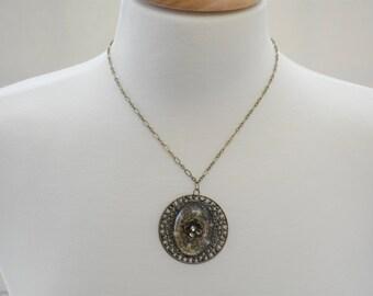 Antique Brass Flower with Rhinestone Necklace