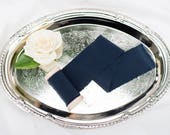 "2"" inch Navy Blue Ribbon on wood spool - Hand Spun Unfinished Raw Edge Ribbon - Bouquet Stationary Invitation Suite Navy Blue"