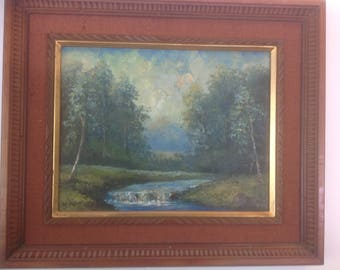 Vintage Framed Original Oil Painting by Landscape Artist K. Yoshii