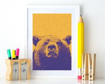 Bear Print, Nursery printable, Kids room decor, Woodland decor, Animal wall art, Downloadable print, Nursery decor, Nursery animal