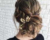 Set of 3 gold leaf hair pins Golden leaves hair piece Bridal hair accessory Beauty and the beast hair clip Emma Watson golden leaf pins Fall
