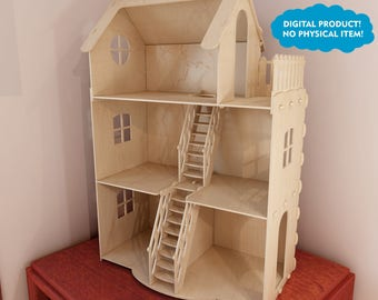 Dollhouse v3. Big plywood Doll house for Barbie. Vector model for CNC router and laser cutting. Barbie size   dollhouse.