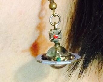 Vintage Vivienne Westwood Iconic Orb Saturn earrings/coated in blue pant/glass orb /costume jewellery/rare item/drop earrings/rare item/