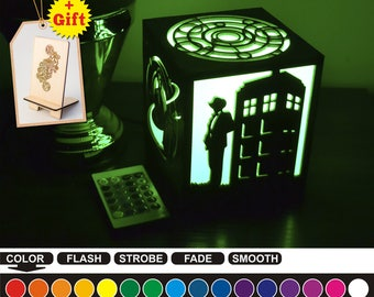 Doctor Who color led nightlight Color led lamp Wood night light Doctor Who Housewarming gift Home decor Night light box Birthday gift