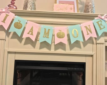Little Pumpkin Birthday Banner- Pumpkin Birthday Banner- Gold Glitter Pumpkin- Glitter Fall Birthday- Pink and Gold Fall Party - Fall Banner