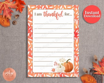 Thanksgiving Thankful Cards INSTANT DOWNLOAD | I'm Thankful for Place Cards | Family Tradition | Give Thanks Cards | Thanksgiving Prompts