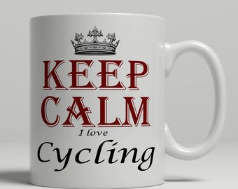 Cycling coffee mug KEEP CALM cycling gift idea cycling mug, cycling fan mug, cyclist coffee mug, cycling mug keep calm cyclist, Keep cycling