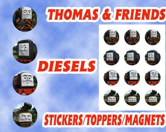 Thomas and Friends Diesels Stickers / Toppers / Magnets DIGITAL FILE ONLY