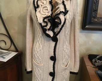 BCBG maxazria detailed long cream sweater coat trimmed in black