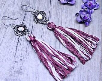 Tassel Earrings, Long Earrings, Multicolored Tassel Earrings, Dangle Earrings, Gift For Her, Statement Earrings, Handmade Tassel Jewelry