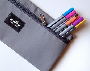 Pencil Bag, Grey Pencil Bag, Pencil Pouch, Pencil Case, Zipper Pouch, Zipper Pencil Case, Stationery Case, School Accessories, Tough