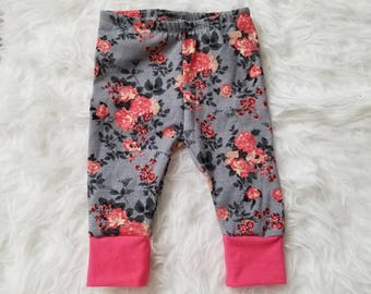 Floral baby girl leggings, floral leggings, baby girl leggings, pink floral leggings, toddler leggings, toddler girl leggings