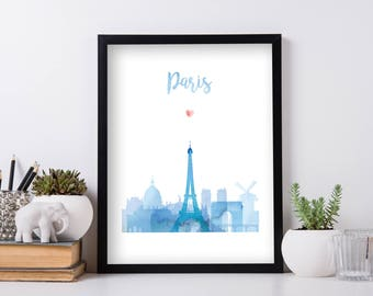 Paris Watercolor Print Wall Art